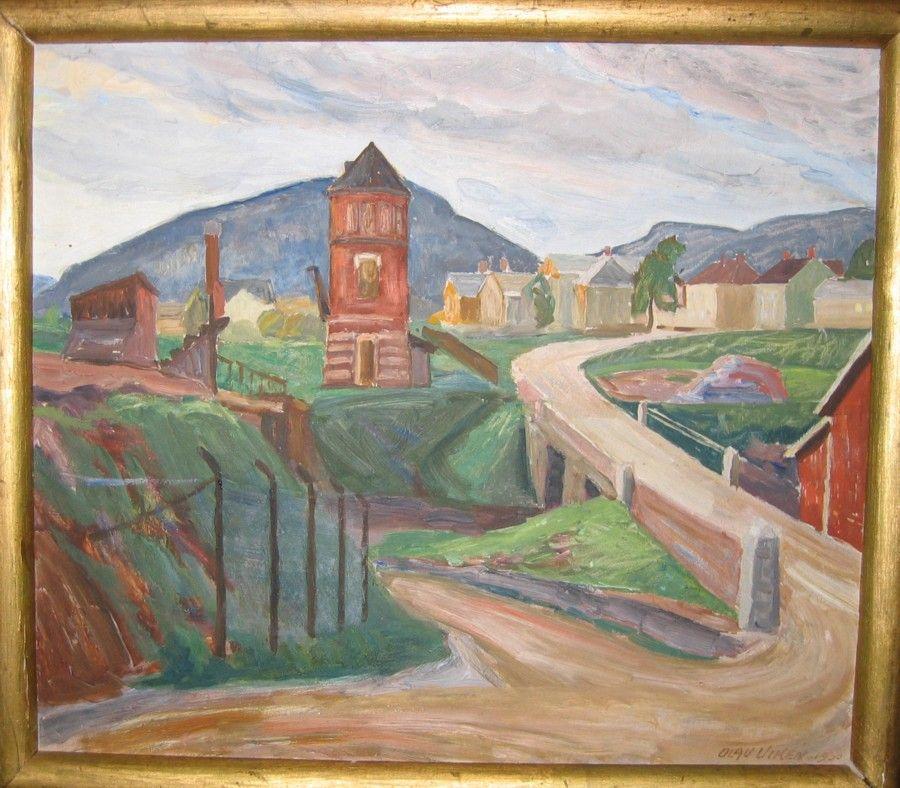 """Oljemaleri av O.V. """"Lillehammer"""" malt i 1930"""