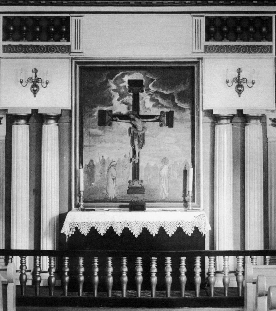 Vinger kirkes altertavle anno 1928 (- en smukk og virkningsfull framstilling)